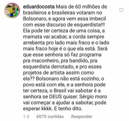 Comentario - Eduardo Costa/Instagram