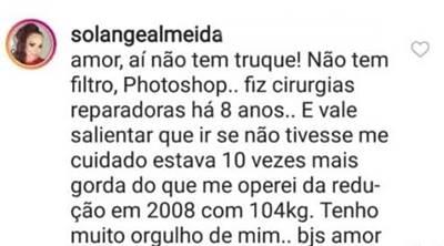 Comentário - Solange Almeida/Instagram