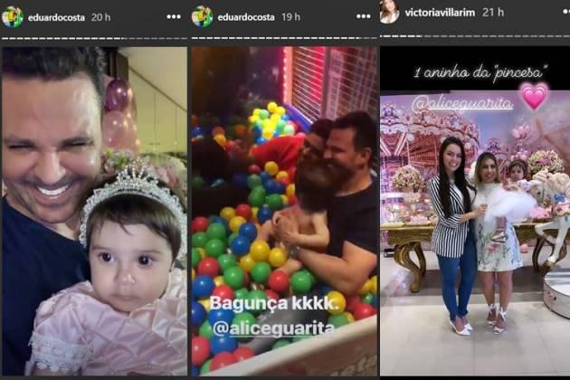 Eduardo Costa - Victória Villarim - Zé Felipe no aniversário da Alice/Instagram