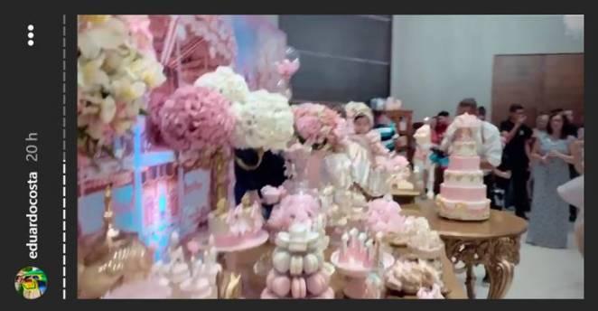 Eduardo Costa mostra detalhes da Festa de Alice/Instagram