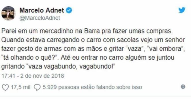 Publicação Marcelo Adnet - Reprodução/Twitter