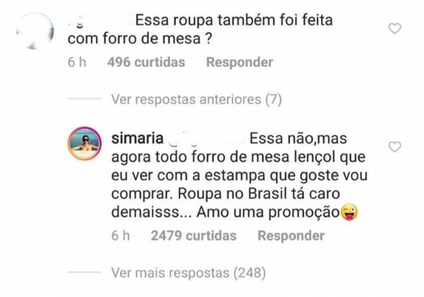 Reprodução: Comentários Instagram Simaria