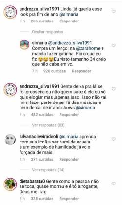 Reprodução: comentários Instagram