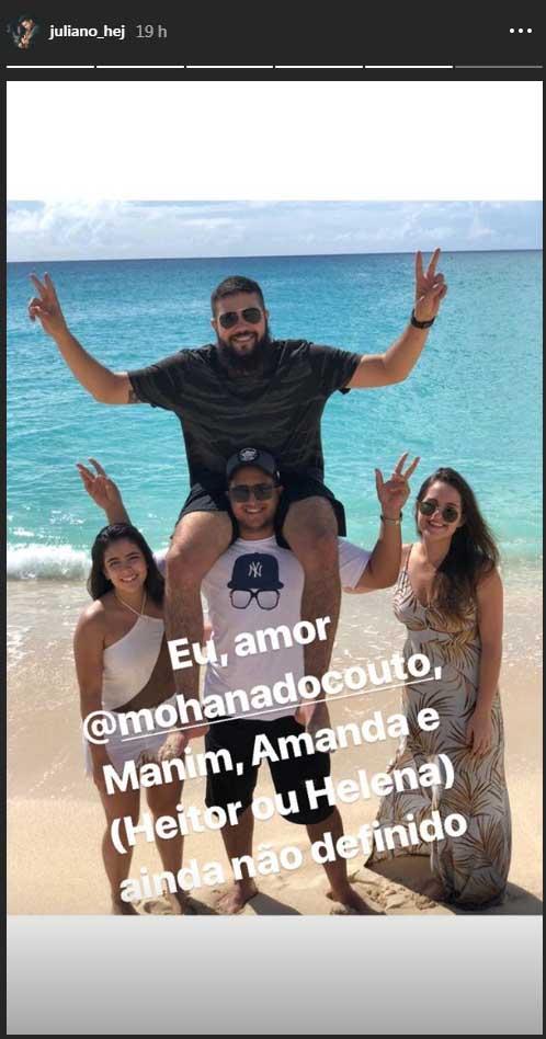 Henrique e a namorada Amanda (de vestido longo) ao lado de Juliano e a namorada Mohana do Couto - Reprodução/Instagram