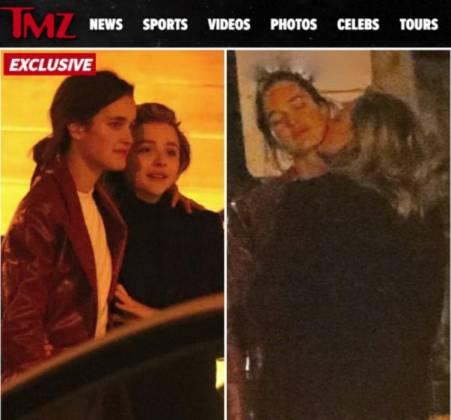 Chloe Grace Moretz e Kate Harrison aos beijos - Reprodução/TMZ
