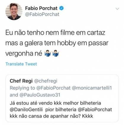 Fábio Porchat rebatendo comentário - Reprodução/Instagram