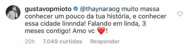 Comentário de Gustavo Mioto - Reprodução/Instagram