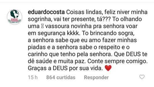 Mensagem de Eduardo Costa para a sogra/Instagram