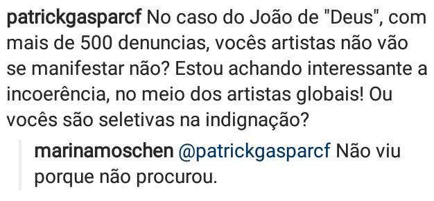 Resposta de Marina Moschen (Foto: reprodução Instagram)