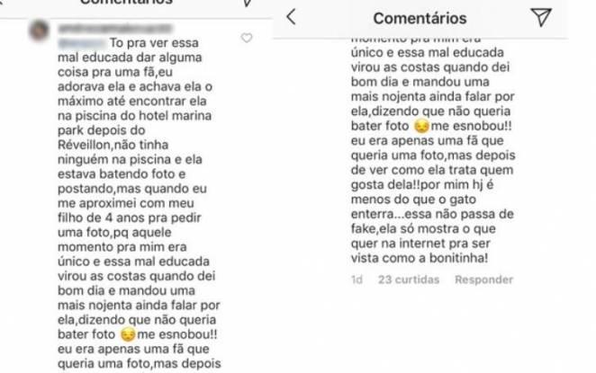 Comentário da fã - Reprodução/Instagram