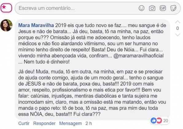 Comentário - Mara Maravilha/Facebook