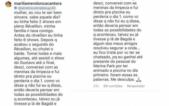 Comentário Marília Mendonça - Reprodução/Instagram