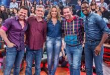 Eduardo Costa, Serginho Groisman, Fernanda Gentil, Leandro Hassum e Mumuzinho (Globo/Fábio Rocha)
