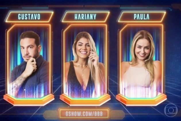 Gustavo, Hariany e Paula - Reprodução/TV Globo
