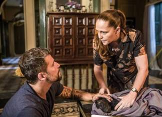 O Sétimo Guardião - Gabriel e Judith com Léon (Globo/João Miguel Júnior)