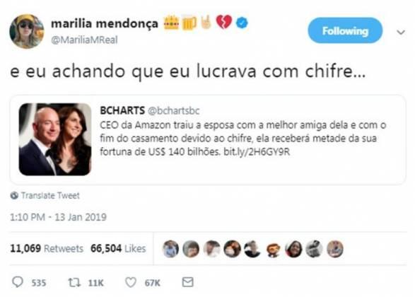 Publicação Marília Mendonça - Reprodução/Twitter