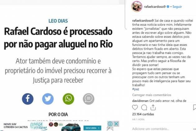 Publicação de Rafael Cardoso/Reprodução