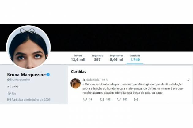 Comentário curtido pela atriz/Reprodução Twitter