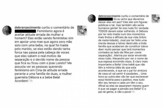 Comentários curtidos pela atriz/Reprodução Instagram