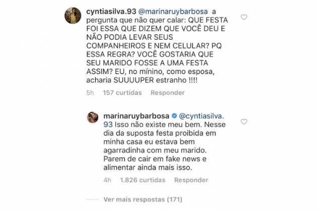 Comentário e resposta da ruiva/Reprodução Instagram