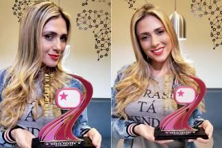 Nadja Pessoa recebe troféu Área VIP - Foto: Wandreza Fernandes/Rosângela Mello