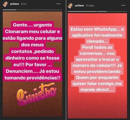 Mensagens compartilhadas por Poliana/Reprodução Instagram