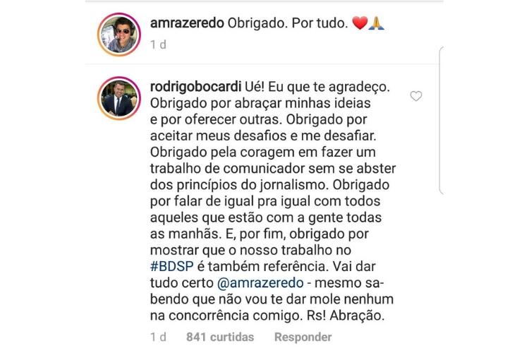 Comentário do apresentador/Reprodução Instagram