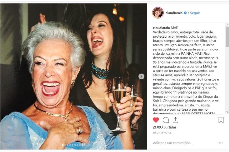 Publicação da atriz/Reprodução Instagram
