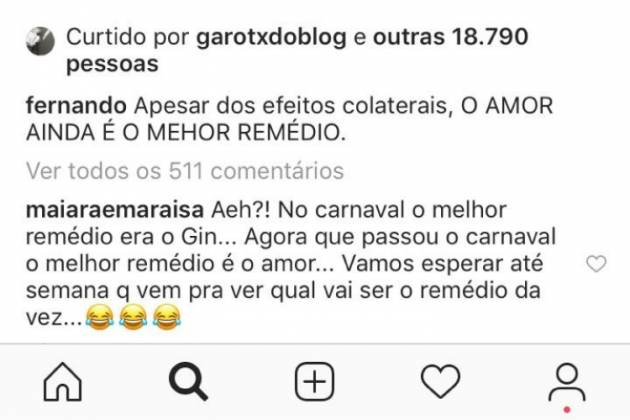 Maiara e Fernando comentários/Reprodução Instagram