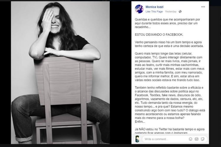 Publicação de Monica Iozzi/Reprodução Facebook