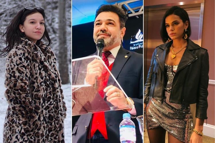 Priscilla, Marco Feliciano e Bruna Marquezine/Reprodução Instagram