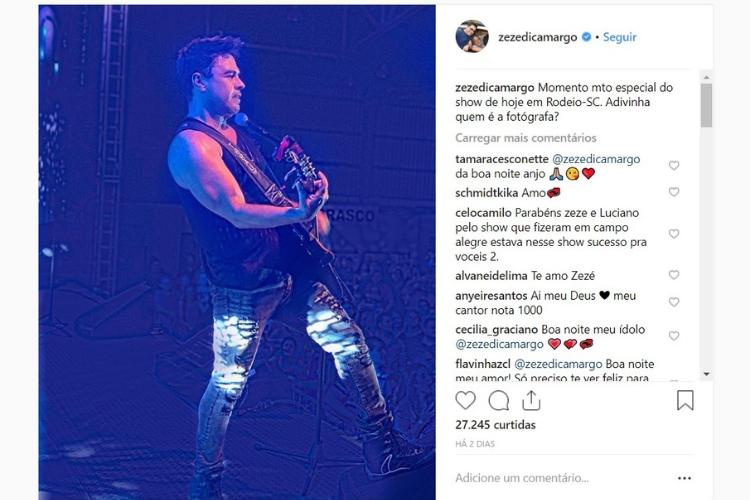 Publicação de Zezé di Camargo/Reprodução Instagram