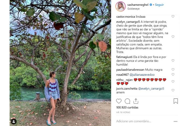 Publicação de Sasha/Reprodução Instagram