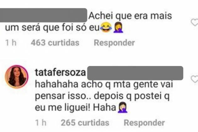 Comentário de Tata/Reprodução Instagram