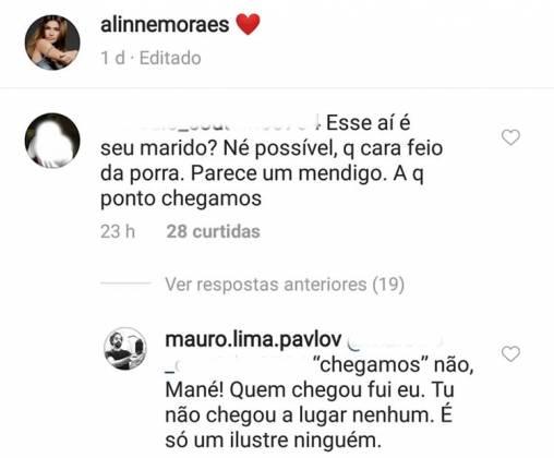 Comentário no post de Alinne/Instagram