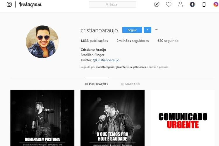 Conta de Cristiano Araújo/Reprodução Instagram