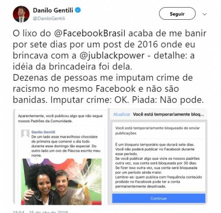 Danilo Gentili perdeu conta no Facebook - Reprodução/Twitter
