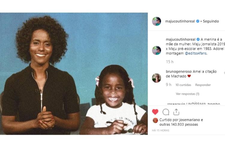 Publicação de Maju Coutinho/Reprodução Instagram