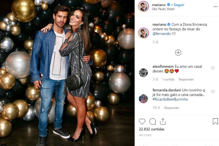 Mariano e a Mulher/Reprodução Instagram