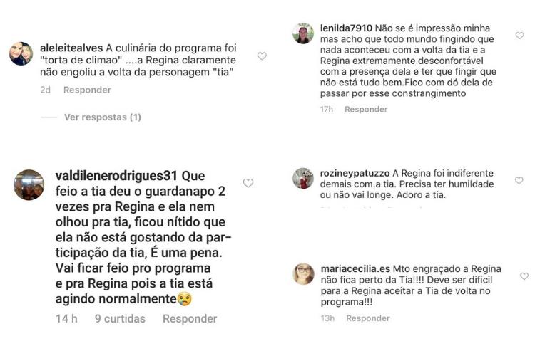 Comentários/Reprodução Instagram