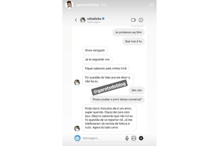 Comentário de Rafael/Reprodução Instagram