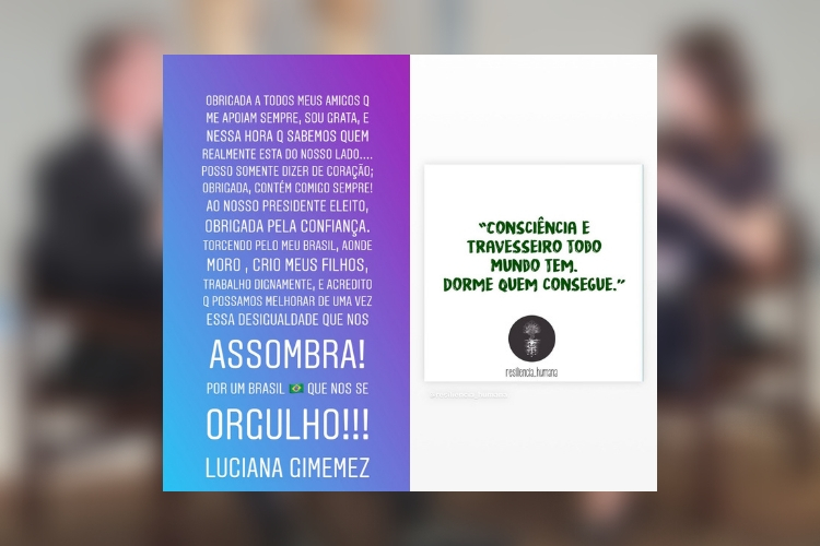 Luciana Gimenez e Jair Bolsonaro/Reprodução Instagram