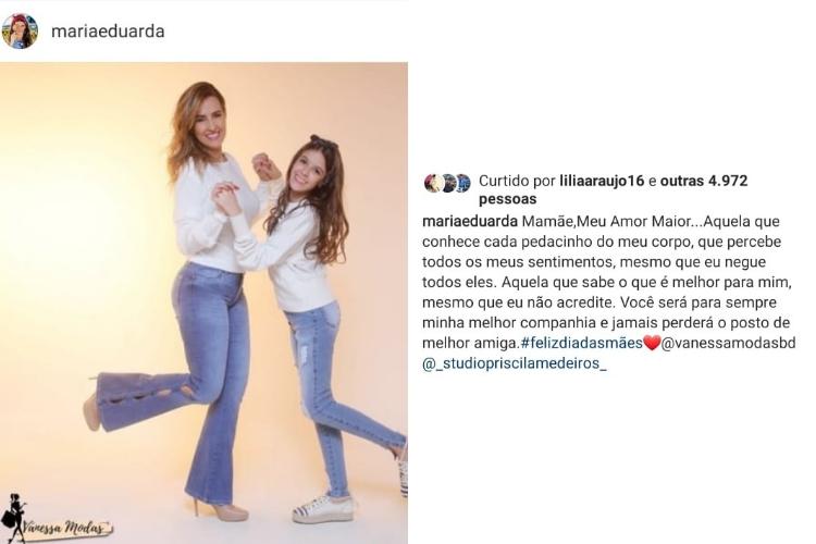 Publicação de Maria Eduarda/Reprodução Instagram