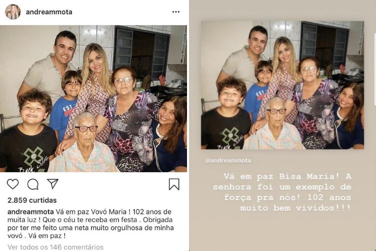 Publicações de Andréa (a esquerda) e Lyandra/Reprodução Instagram
