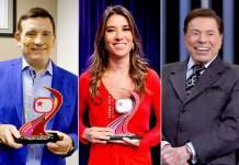 Roberto Cabrini, Rebeca Abravanel e Silvio Santos são reverenciados
