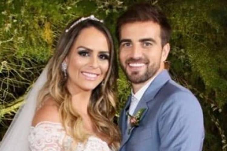 Aline Lima, filha de Chitãozinho, se casa com jogador Rafael Longuine
