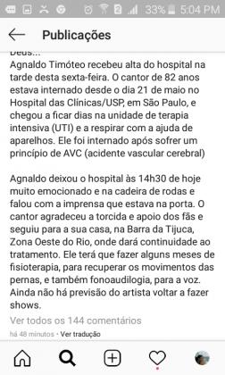 depoimento Agnaldo timoteo/ instagram