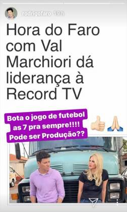 Rodrigo Faro - Val Marchioiri Hora do faro Instagram Storie
