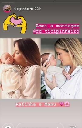 Ticiane Pinheiro. montagem das filhas Rafaella e Manuella - Instagram