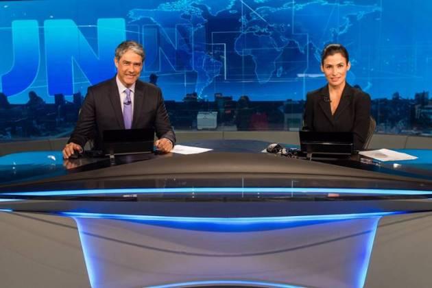 William Bonner e Renata Vasconcellos no JN (Globo/João Cotta)